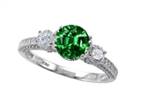 Zoe R Engagement Ring With 14 Genuine Diamonds And 7mm Round Simulated Emerald