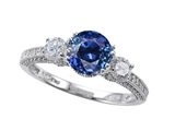 Zoe R™ Engagement Ring With 14 Genuine Diamonds And 7mm Round Created Sapphire