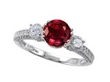 Zoe R™ Engagement Ring With 14 Genuine Diamonds And 7mm Round Created Ruby
