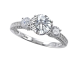 Zoe R Engagement Ring With 14 Genuine Diamonds And 7mm Round Genuine White Topaz