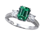 Zoe R Engagement Ring With 14 Genuine Diamonds And 8x6mm Emerald Cut Simulated Emerald