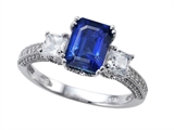 Zoe R Engagement Ring With 14 Genuine Diamonds And 8x6mm Emerald Cut Created Sapphire