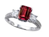 Zoe R™ Engagement Ring With 14 Genuine Diamonds And 8x6mm Emerald Cut Created Ruby