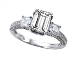 Zoe R Engagement Ring With 14 Genuine Diamonds And 8x6mm Emerald Cut Genuine White Topaz By
