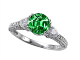 Zoe R Engagement Ring With 14 Genuine Diamonds And 7mm Round Simulated Emerald By Zoe R