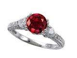 Zoe R™ Engagement Ring With 14 Genuine Diamonds And 7mm Round Created Ruby By Zoe R