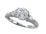 Zoe R Engagement Ring With 14 Genuine Diamonds And 7mm Round Genuine White Topaz By Zoe R