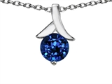 Original Star K Round Pendant with Created Sapphire