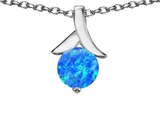 Original Star K™ Round Pendant with Created Blue Opal