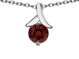 Original Star K Round 7mm Pendant with Genuine Garnet