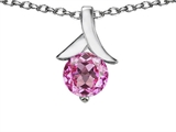 Original Star K™ Round 7mm Pendant with Created Pink Sapphire style: 304077