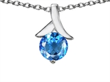 Original Star K™ Round 7mm Pendant with Genuine Blue Topaz