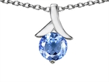 Original Star K™ Round 7mm Pendant with Simulated Aquamarine