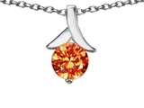 Original Star K Round Pendant with Simulated Mexican Fire Opal