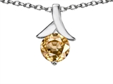 Original Star K Round Pendant With Simulated Imperial Yellow Topaz
