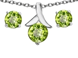 Original Star K™ Genuine Peridot Round Pendant with matching earrings style: 304086