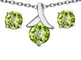 Original Star K™ Genuine Peridot Round Pendant with matching earrings style: 304086