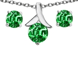 Original Star K™ Simulated Emerald Round 7mm Pendant with matching earrings style: 304088