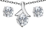 Original Star K™ Genuine White Topaz Round Pendant With Matching Earrings style: 304093