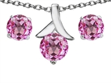 Original Star K™ Created Pink Sapphire 7mm Round Pendant with matching earrings style: 304094