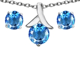 Original Star K™ Genuine Blue Topaz Round Pendant with matching earrings style: 304095