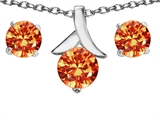 Original Star K™ Simulated Mexican Fire Opal Round Pendant with matching earrings style: 304098