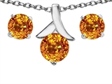 Original Star K™ Genuine Citrine Round Pendant with matching earrings style: 304099