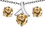Original Star K™ Simulated Imperial Yellow Topaz Round Pendant Box Set With Free Matching Earrings