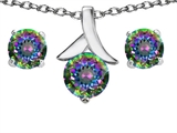 Original Star K™ Genuine Mystic Topaz Round Pendant Box Set with matching earrings
