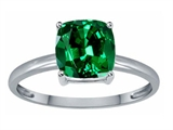 Tommaso Design Simulated Emerald 7mm Cushion Cut Solitaire Engagement Ring