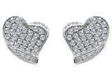 Original Star K Heart Shape Love Earrings With Genuine White Topaz
