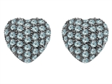 Original Star K Small Puffed Heart Love Earrings with Simulated Aquamarine
