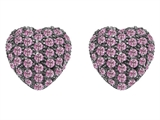 Original Star K Small Puffed Heart Love Earrings with Created Pink Sapphire