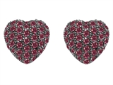Original Star K Small Puffed Heart Love Earrings with Lab Created Ruby