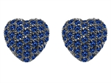 Original Star K™ Small Puffed Heart Love Earrings with Lab Created Sapphire