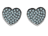 Star K™ Heart Shape Love Earrings with Simulated Aquamarine style: 304158