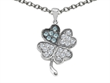 Star K™ Lucky Clover Pendant Necklace With Simulated Aquamarine style: 304179
