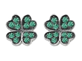 Celtic Love by Kelly Small Lucky Clover Earrings with Simulated Emerald
