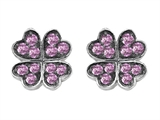 Celtic Love by Kelly Small Lucky Clover Earrings with Created Pink Sapphire style: 304183