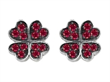 Celtic Love by Kelly Small Lucky Clover Earrings with Lab Created Ruby