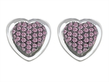 Original Star K Heart Shape Love Earrings with Created Pink Sapphire