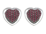 Original Star K Heart Shape Love Earrings with Lab Created Ruby