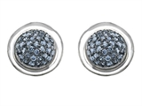 Original Star K Round Puffed Earrings with Simulated Aquamarine