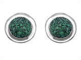 Original Star K Round Puffed Earrings with Simulated Emerald