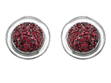 Original Star K Round Puffed Earrings with Lab Created Ruby