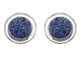 Original Star K™ Round Puffed Earrings with Lab Created Sapphire