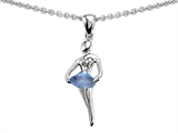 Original Star K Ballerina Dancer Pendant with Round 7mm Simulated Aquamarine