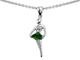 Original Star K Ballerina Dancer Pendant with Round 7mm Simulated Emerald