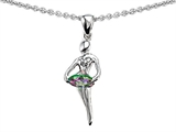 Original Star K Ballerina Dancer Pendant with Round 7mm Rainbow Mystic Topaz