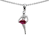 Original Star K Ballerina Dancer Pendant with Round 7mm Created Ruby